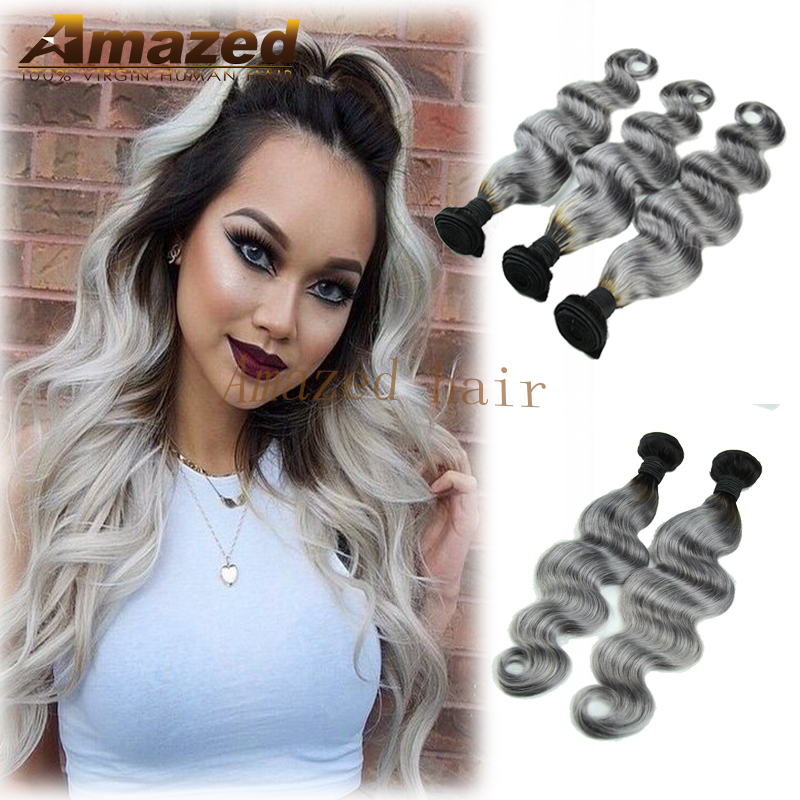 #1b/gray Ombre Hair Extensions Body Wave Peruvian Virgin Hair 3pc/lot Ombre Grey Hair Weave Dark Root Ombre Grey Hair Weave