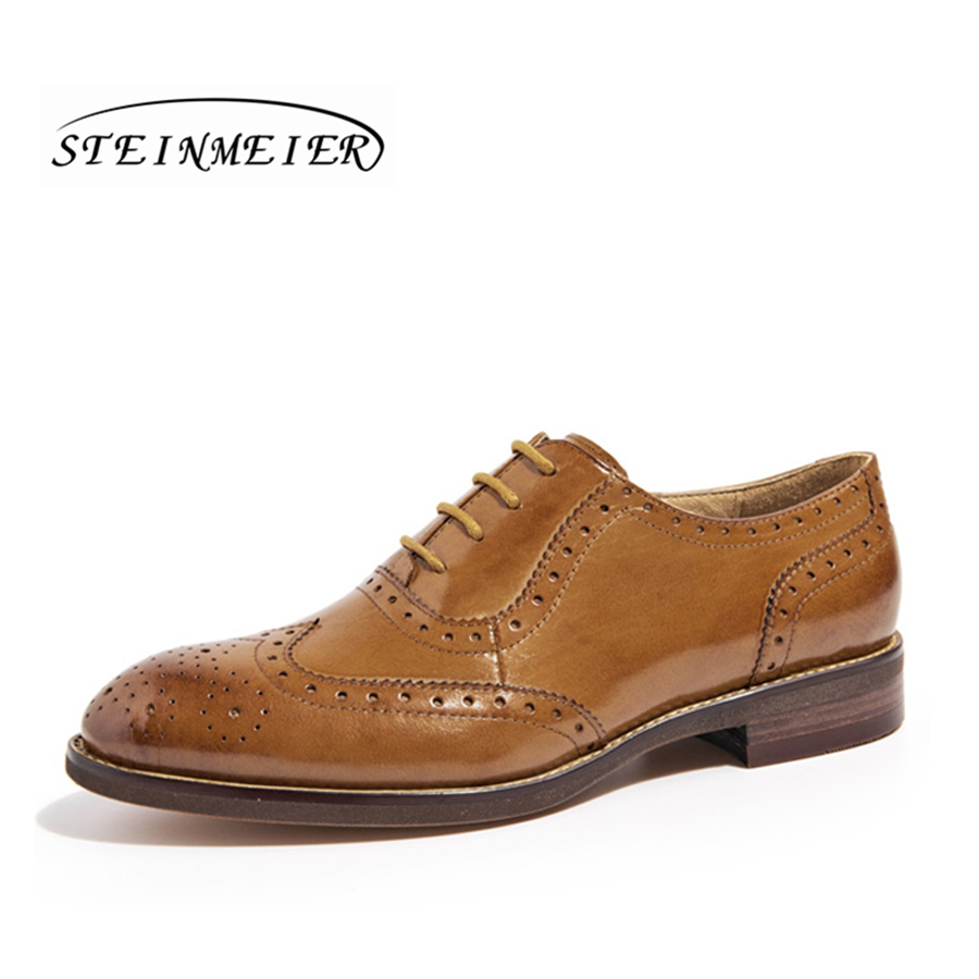 women genuine leather Yinzo oxford brogue shoes woman brown black casual lace up flat oxfords shoes flats oxford shoes for woman genuine leather custom made lace up black brogue shoes for women chaussures femme scarpe donna