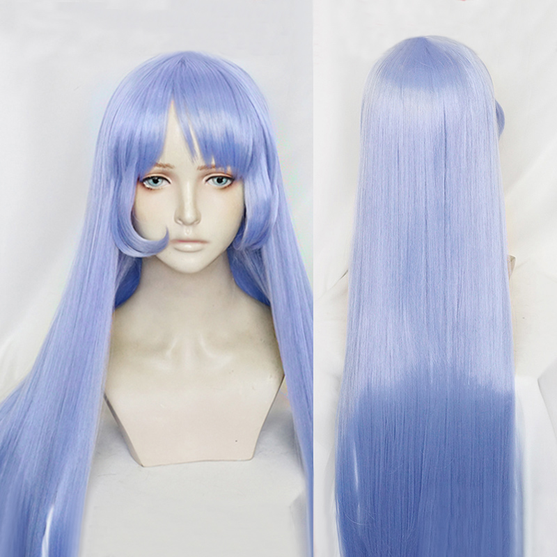 My Hero Academia Nejire Hado Hadou 110cm Long Soft Blue Straight Heat Resistant Hair Cosplay Costume Wig + Free Wig Cap