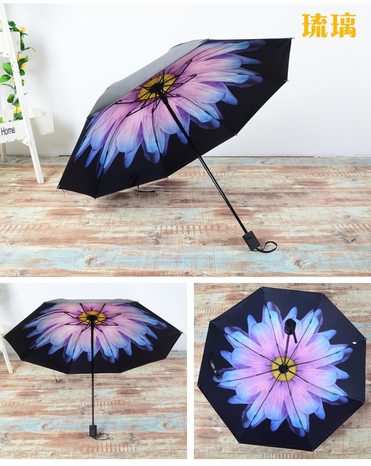 36c94b31a2fed4 2017 New Arrival Summer Sun Fashion lady Three folding Black coating  compact Female male lady sunny rain anti-uv umbrellas - us560