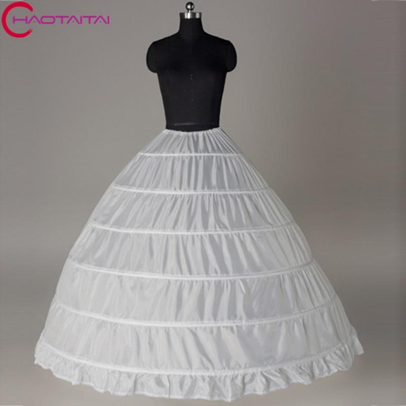 Wedding Petticoat 2018 Wholesale 6 Hoop Bone Elastic Dress