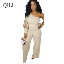 QILI One Shoulder Fashion Jumpsuits Women Romper Split Long Sleeve With Belted Boot Cut Pants Jumpsuits Casual Overassl