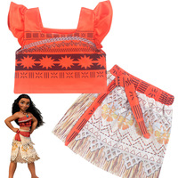 Z Y 2 7Years Fancy Moana Dress Cosplay Girls Clothing Teen Moana Party 2pcs Sets Baby