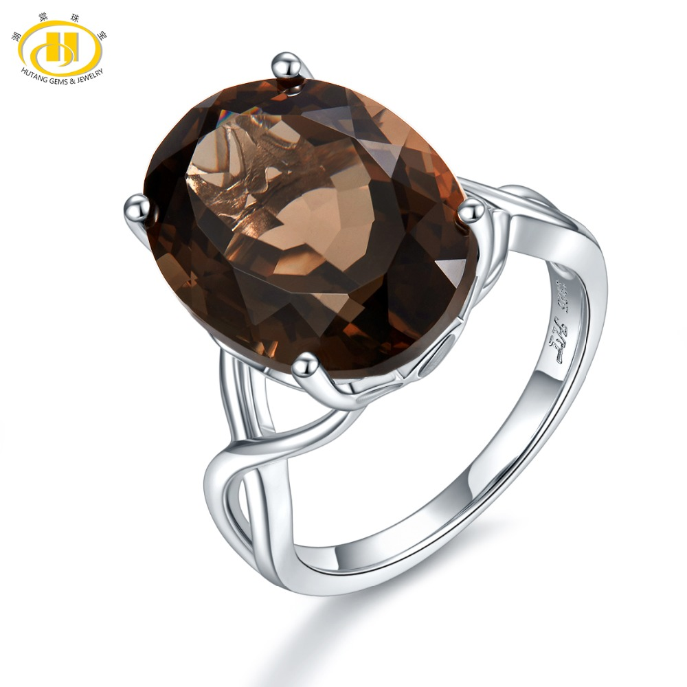 Hutang 9 45ct Gemstone Engagement Ring Solid 925 Sterling Silver Rings Natural Smoky Quartz Fine Elegant