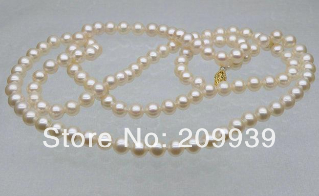 Free shipping Hot sell >>>@@ AS3190 Gorgeous genuine 7-7.5mm AAA+ round white akoya pearl necklace gift 32 цена и фото