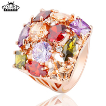 Free Shipping!!!Fashion Design Austrian Crystal Rings Rose Gold Colour AAA Colorful Cubic Rings For Women Girl Christmas Gift