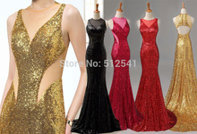 Seductive V Neck Trumpet Mermaid Evening Dresses Sequin Backless Really Images Sweep Train Formal Gowns yk1A487