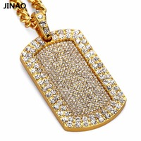 JINAO Gold Plated Bling Army Card With Full Rhinestones Pendant Necklaces Men Women Hip Hop Military