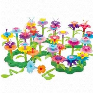 حلم حديقة سلسلة الفتيات زهرة ربط كتل ألعاب تعليمية الجمعية كتل الإبداعية DIY الطوب لعب للأطفال