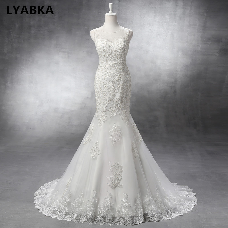 Sexy Mermaid Wedding Dresses Elegant Sleeveless Scoop Neck Robe De Mariage Tulle With Pearls Wedding Dress 2019 Vestido De Noiva