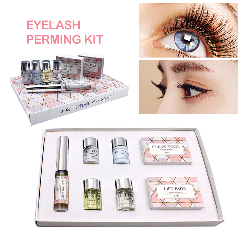 1 Box Funmix Professional Mini Eyelash Perming Glue Agent Silicone Patch Perming Rods Eye Lash Extension Kits Makeup Tools TSLM1