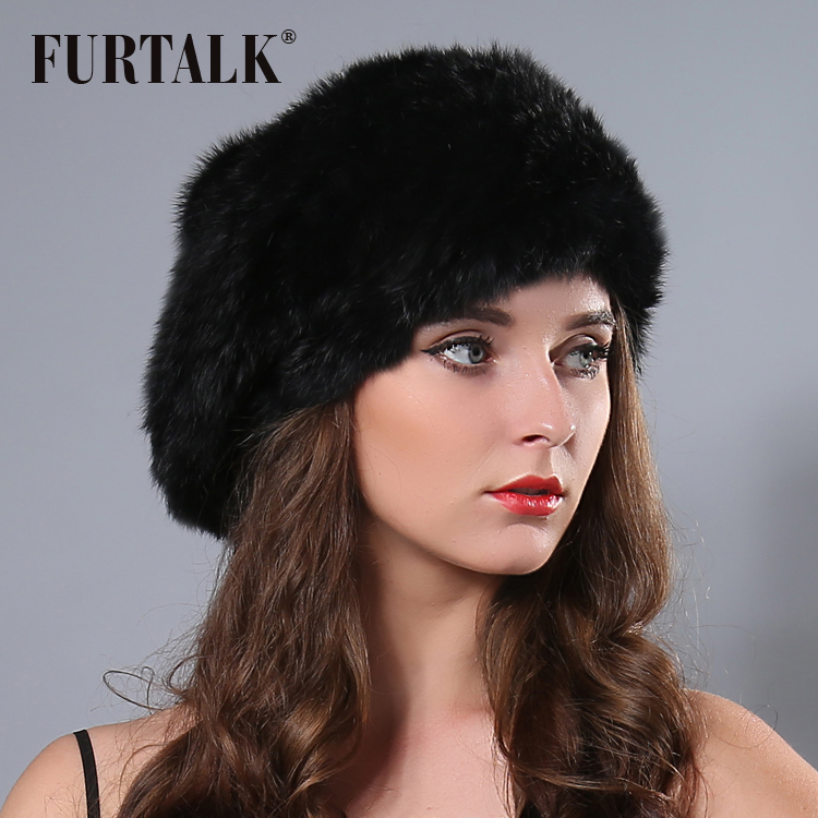 Fur talk hand knited Flexible natural rabbit fur bobble hat beret Russian winter fur hats for women
