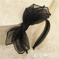 High end Handmade Wide brimmed Bow Black Multi layer Net Yarn Slip Hairpin Headband Headdress Female