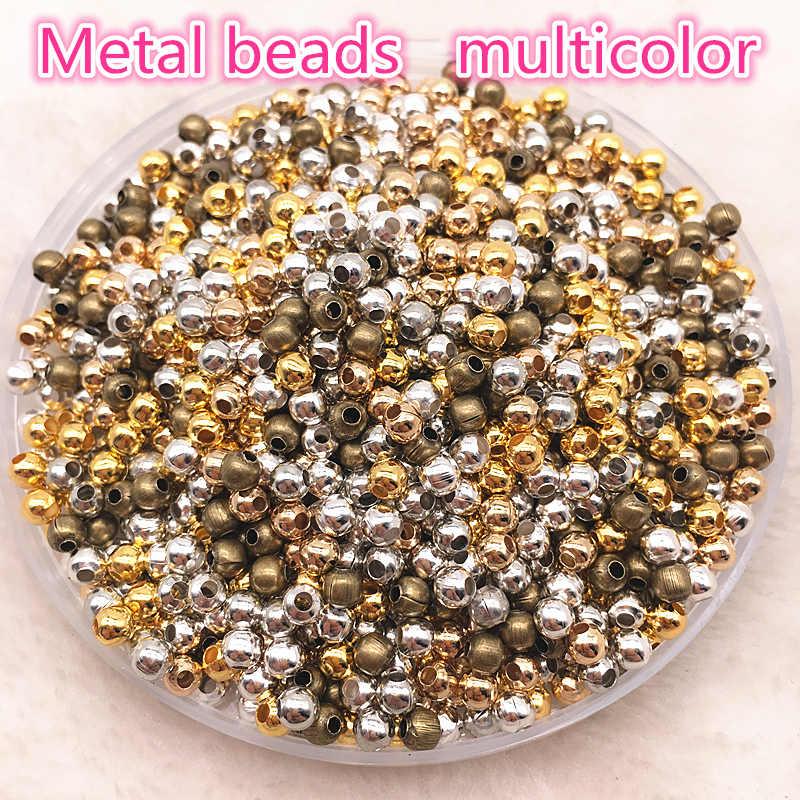 Risultati Dei monili di Diy 200pcs 3 millimetri In Oro/Argento/Bronzo/Argento Borda il Tono di Metallo Liscia della Sfera del Distanziatore perline Per Monili Che Fanno