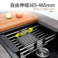 Черный кухонная раковина сетчатая корзина 304 нержавеющая сталь решетка для слива раковины умывальник корзина для посуды выдвижной фильтр З...