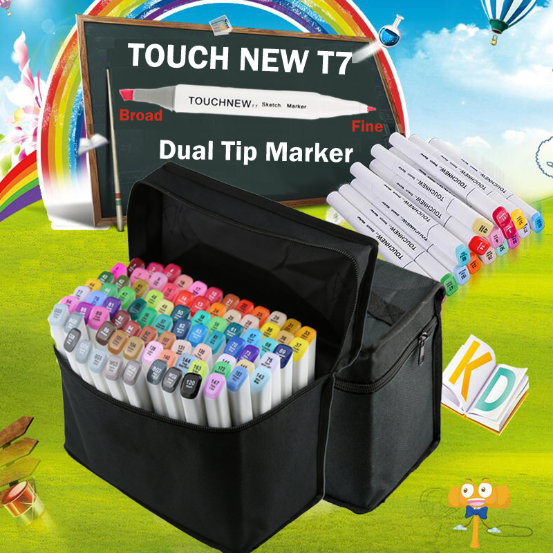 Touchnew sketch arkers drawing pen graphics alcohol marcadores permanent hidrocor graphic tip double headed marker pens touchnew 60 colors artist dual head sketch markers for manga marker school drawing marker pen design supplies 5type