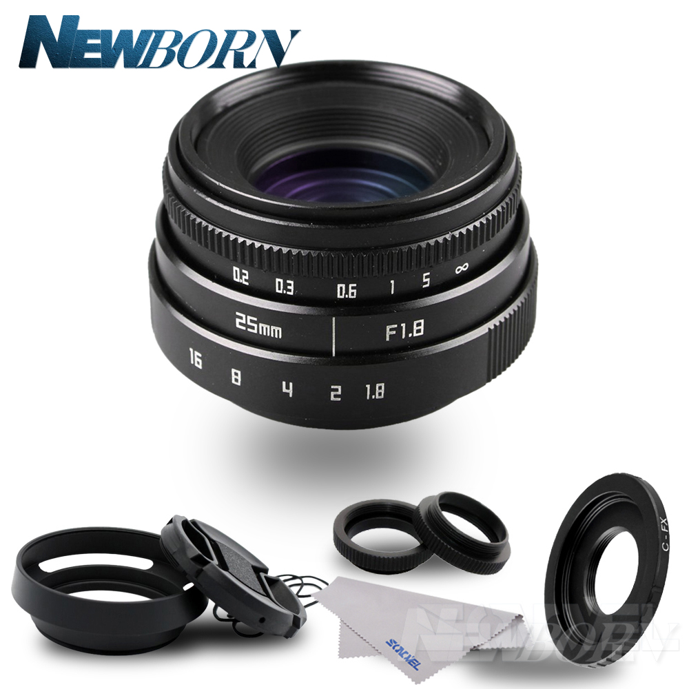 25mm F1.8 APS-C Television TV Lens CCTV Lens+Lens hood for Fuji Fujifilm X-E2 X-E1 X-Pro1 X-Pro2 X-M1 X-A3 X-A2 X-A1 X-T1 C-FX цена