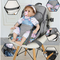 2 IN 1 Portable Baby Dining Chair Mummy Daddy Backpack USB Baby Nappy Bag Large Capacity Diaper Bag Traveling Baby Booster Seat