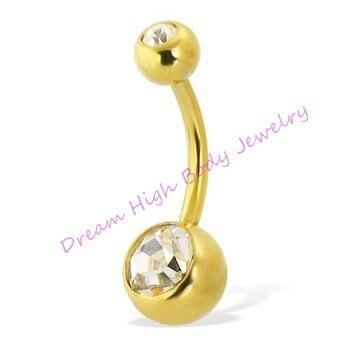 Новое поступление золотого двойного пупка кольцо банан вакуумное покрытие 14 г высокое качество не выцветает Искра модные ювелирные изделия