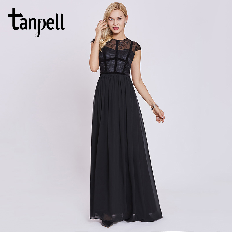 Tanpell lace long evening dresses black scoop cap sleeves floor length a line gown cheap women prom party formal evening dress