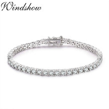 Women Jewelry Bracelete 925-Sterling-Silver Girl Gift Zironia Friend Round Pulseira 3mm