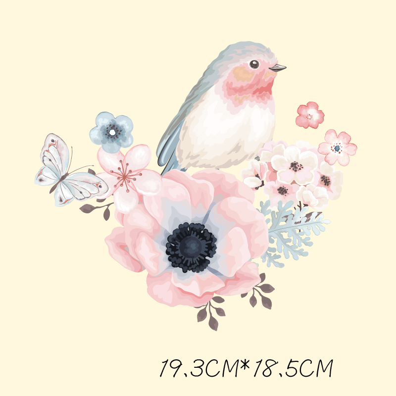 DoreenBeads Flowers Bird Patch T-shirt Press Sticker Washable Iron On Transfers Patches For Girl Woman T Shirt Dress 19.3x18.5cm