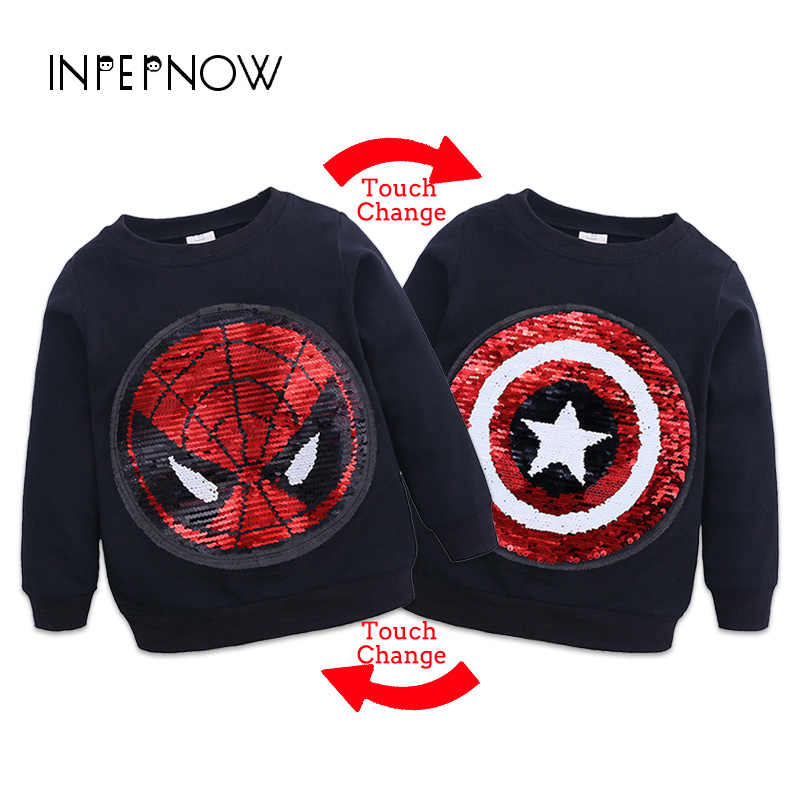 INPEPNOW Spiderman Sweatshirt for Boy Hoodies Baby Girl Clothes Cartoon Print Kid Clothes Sweat Shirt Toddler Jackets WY-CZX16