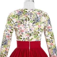 Summer Dress 2016 Red Long Sleeve Ladies Floral Print Women Dress Plus size Vestidos 50s Vintage Retro Tunic Casual Dresses