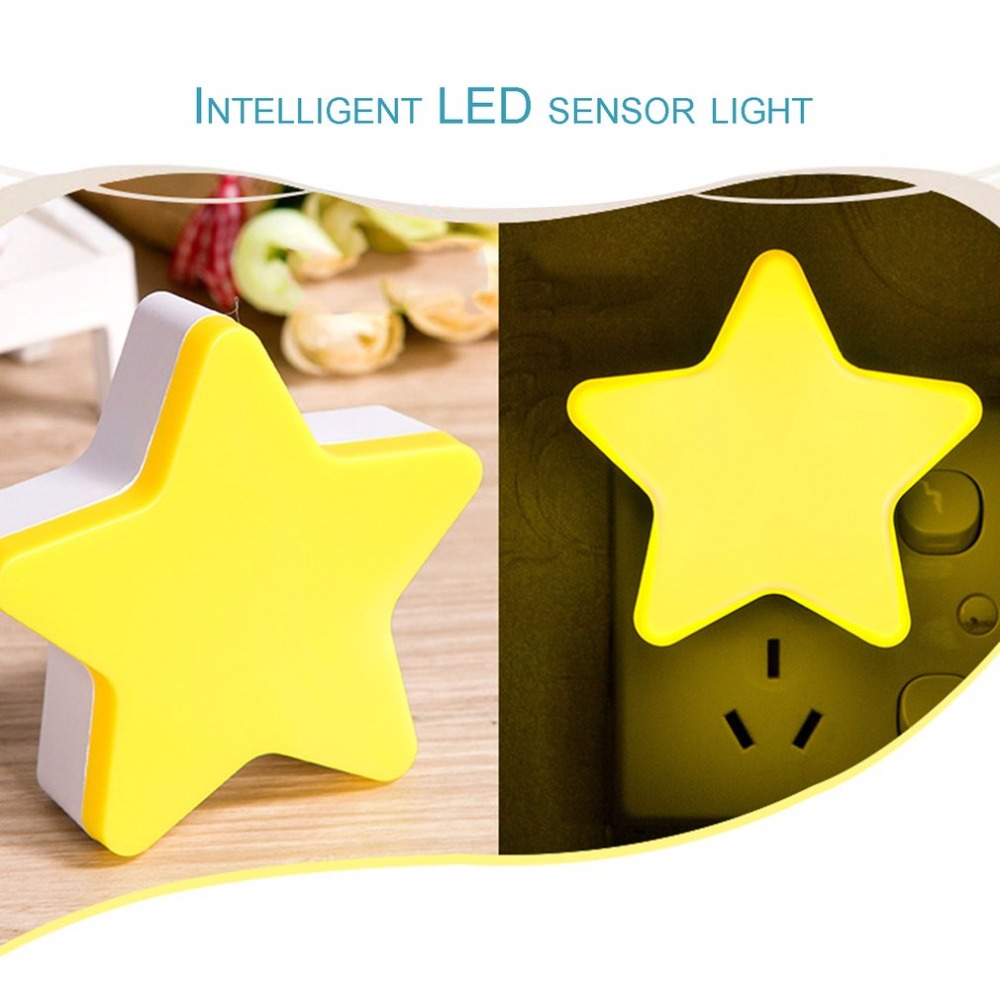 Auto-control Switch Anti-fall Lighting Light Star Shape Led Wall Light Energy Saving Home Decoration Sensor Night Light Us Plug Security & Protection