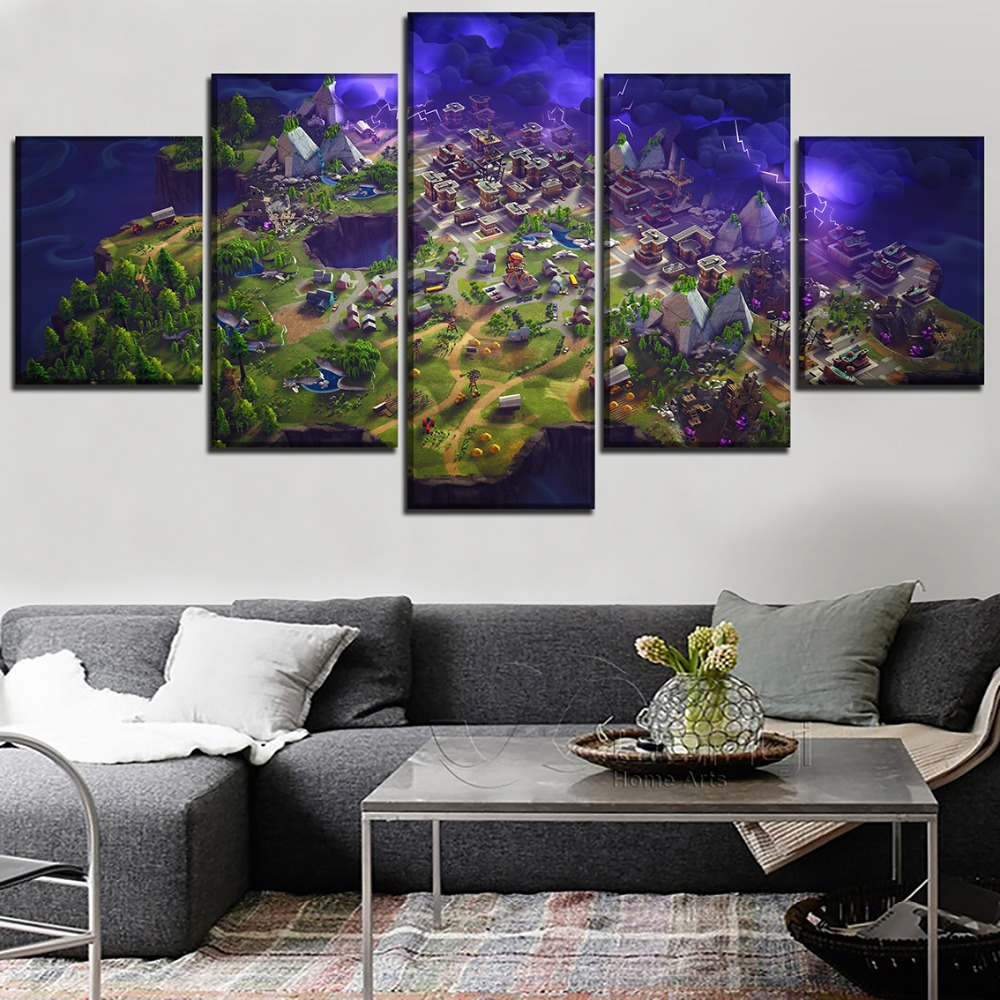 5 Pieces Fortnite Role Painting Game Poster For Modern