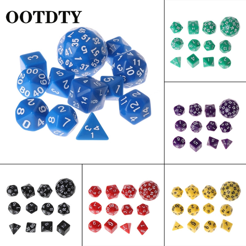 OOTDTY 12pcs/Set Multi-sided Polyhedral Dice D4 D6 D8 D10 D12 D20 D24 D30 D60 Dungeons  Polyhedral Dice