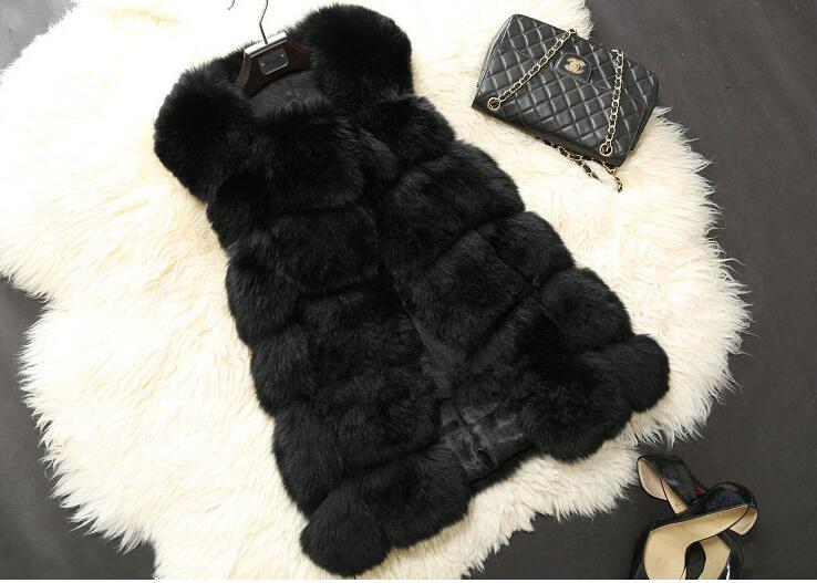 Winter Women Plus Size Faux Fur Coat Fashion Long Mink Vest Jackets Faux Fox Fur Vest Ladies Outwear Fur Coats for Women