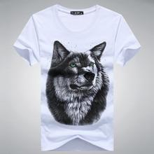Hyweacvar Cotton 3D T shirt Men Summer New Arrvial 3D Classic Wolf Men's T-shirt white black blue S-5XL