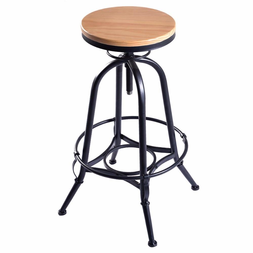 Vintage Bar Stool Chair Barstool Industrial Metal Design Wood Top Adjustable Height Swivel Dining Chairs Furniture HW51305