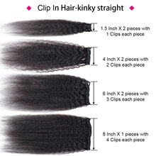 Hair Kinky Striaght Clip In Human Hair Extension 120g Brazilian Natural Hair in Clips Full Head Remy Hair Natural Color