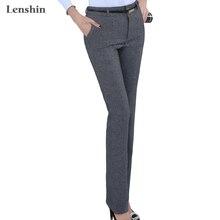 Lenshin размера плюс Формальные регулируемые брюки для женщин офисные женские стиль рабочая одежда прямые пояс петля брюки бизнес дизайн