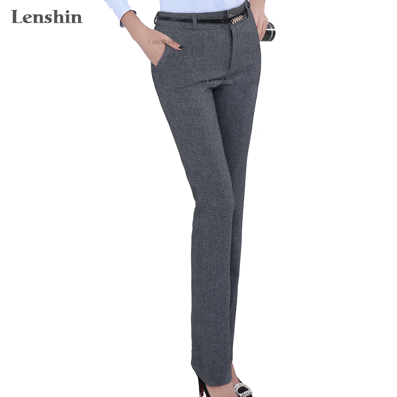 Lenshin Plus Size Pantaloni reglabil formal pentru femei Office Lady Style Work Wear Curea de buzunar Straight Belt Pantaloni Business Design