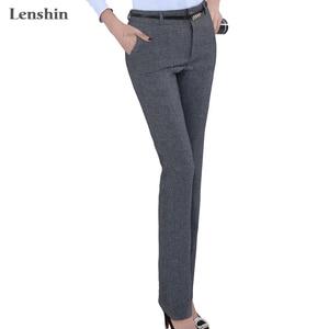 Lenshin Plus Size Formal Adjustable Pants for Women Office Lady Style Work Wear Straight Belt Loop Trousers Business Design