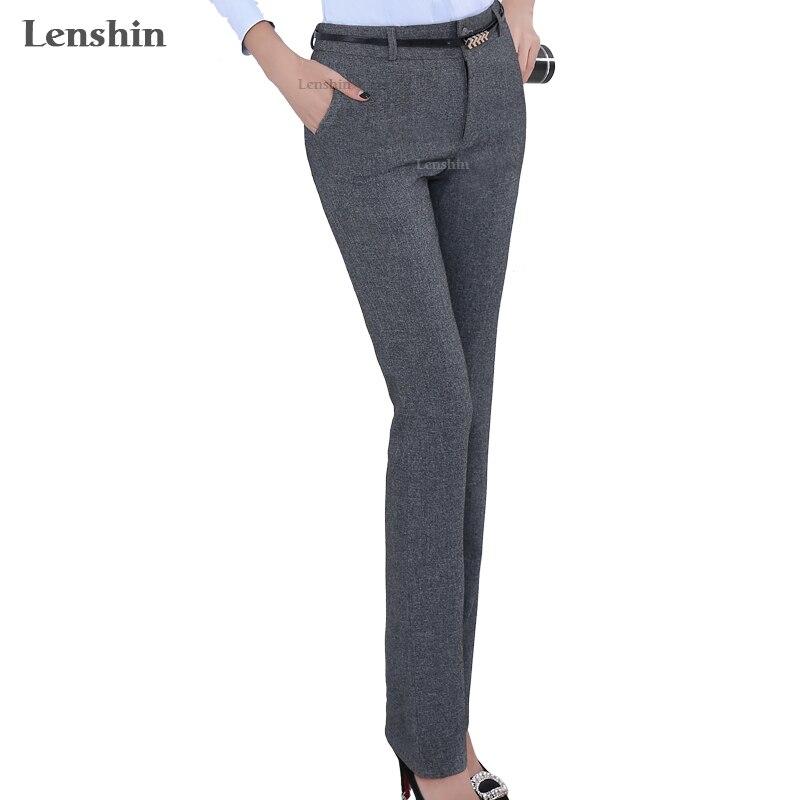 3edfa339d7 Lenshin Plus tamaño Formal ajustable pantalones para mujeres Oficina estilo  de señora ropa de trabajo directamente cinturón pantalones diseño de  negocios en ...