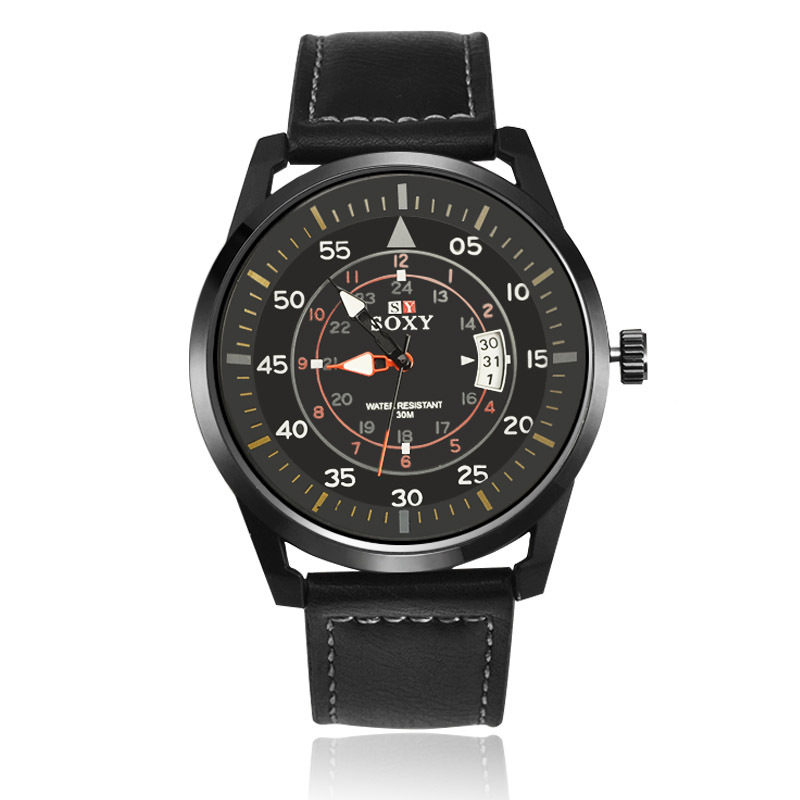 kalender herenhorloge quartz herenhorloges Lederen horloges voor - Herenhorloges - Foto 2