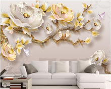 beibehang Modern minimalist super silky papel de parede wall paper embossed peony new Chinese TV background 3d wallpaper behang