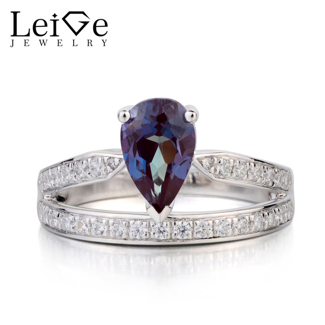 9bf219fc86 US $97.8 40% OFF Leige Jewelry Lab Alexandrite Ring Pear Cut Engagement  Rings Solid 925 Sterling Silver Color Changing Gemstone June Birthstone-in  ...