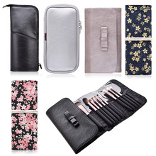 цена на Brushes Holder Bag Cosmetic Make up Brushes Container Case Leather/Canvas Brush Storage Package Roll Pouch Bag For Makeup Brush