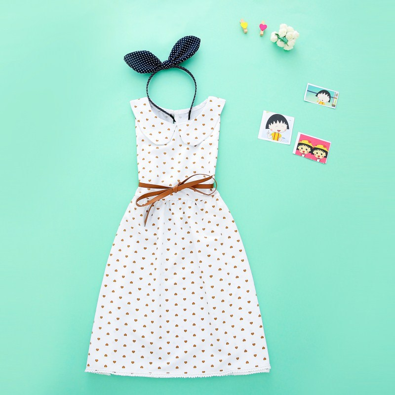 Children's heart-shaped printing dress 2018 sweet princess dress sweetheart girl summer lace dress
