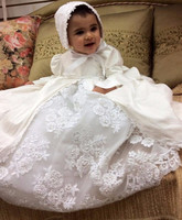 Cute White Lace Pearls Christening Gown for Baby Girls with Bonnet Free Shipping Any Size
