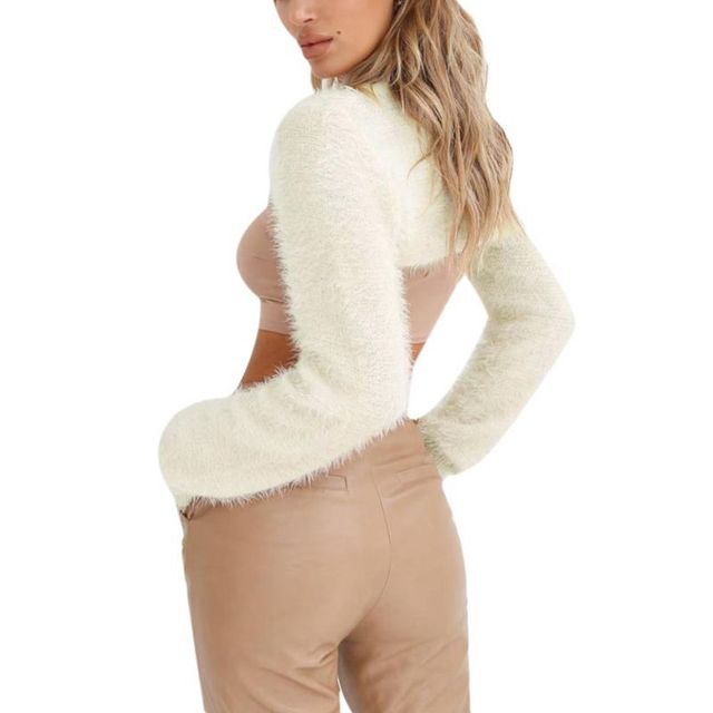2018 Hot Sale Super Short Cardigan Women Sexy Basic Knitted Pullover Sweater Fashion Long Sleeve Casual Spring Autumn Sweater 10