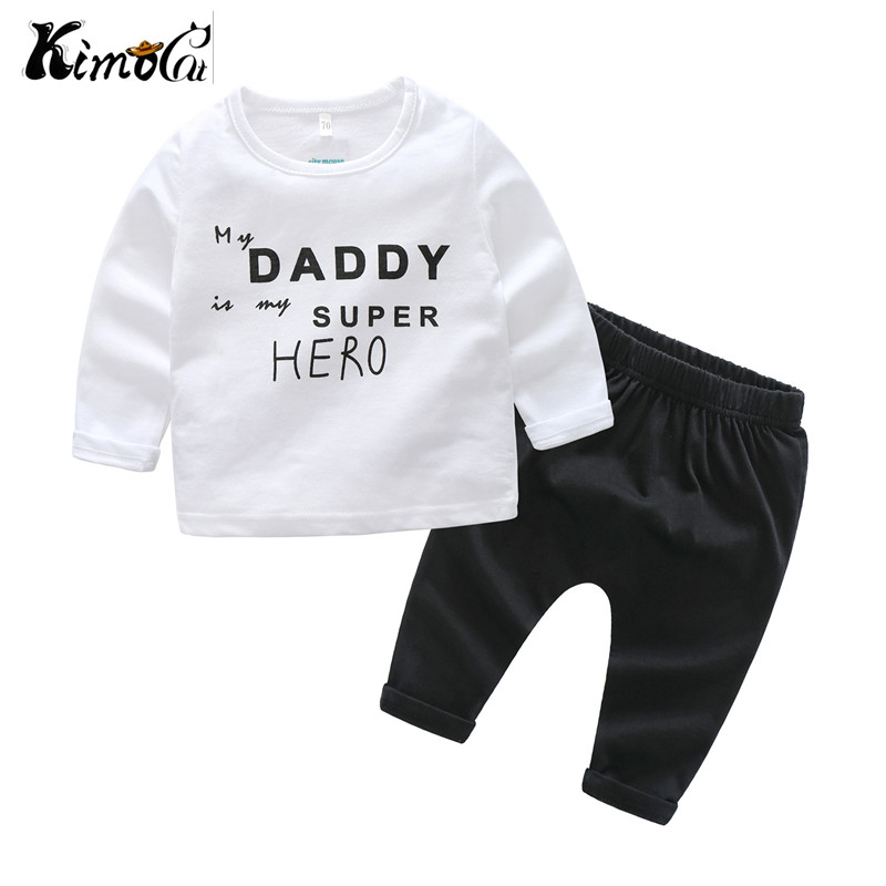 Kimocat new Autumn baby boomer shorts suit boy's letter T shirt pants two pieces two tone letter print t shirt