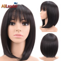 Lovely Lady 12 Inch Short Black Bob Wig With Neat Bangs Cheap Wigs Synthetic For Black Women Sexy Female Short Cut Wigs Straight
