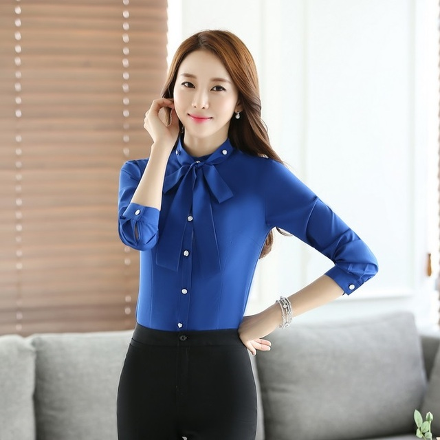 Spring and Autumn Formal Blue Shirts Women Work Blouses with Tie ...