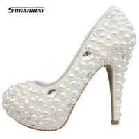 Custom Hand Made Elegant Women High Heel Platform Pearl And Rhinestone Pump Party Dress White Bridesmaid